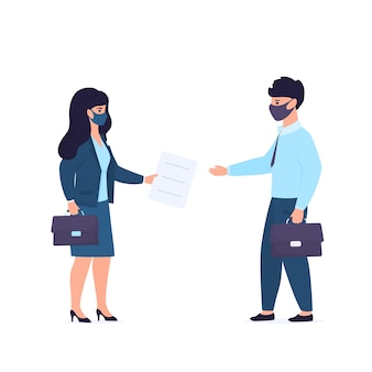 Reunión de negocios durante la cuarentena. trabajadores de oficina con máscaras protectoras. la empresaria ofrece contrato al hombre.