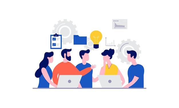 Reunión de negocios y discusión con ilustración de trabajo en equipo. hombre de negocios y mujer hablan con la idea de la meta para el éxito.