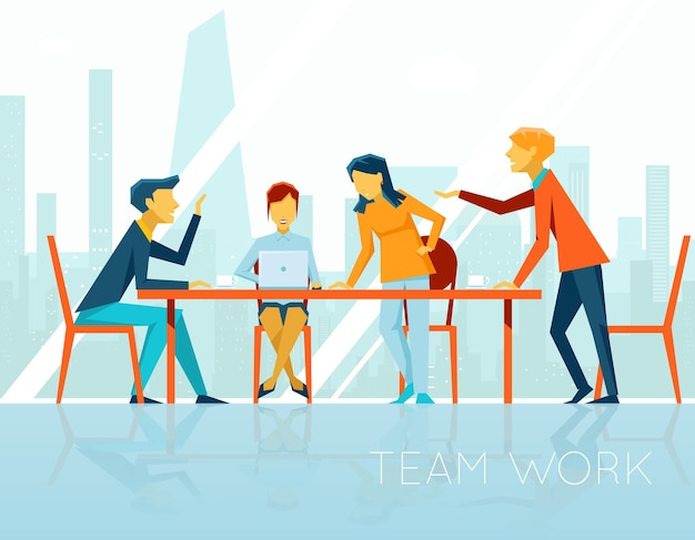Reunión de negocios. gente hablando y trabajando en la oficina. coffee break, empresaria y empresario, ilustración vectorial