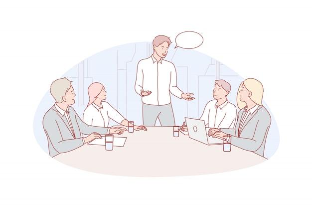 Reunión de negocios, liderazgo, ilustración de coworking