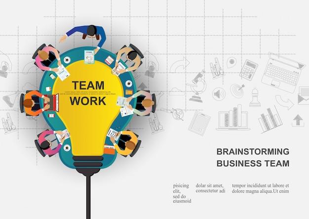 Reunión de negocios y lluvia de ideas.