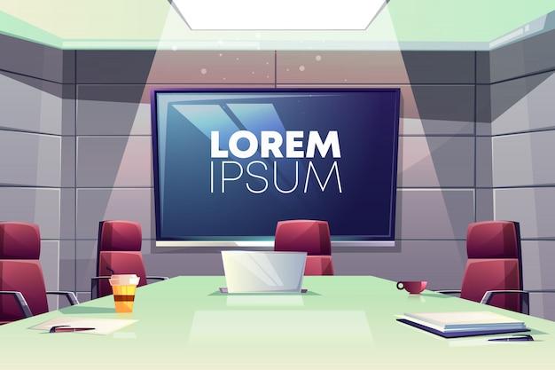 Reunión de negocios o ilustración de dibujos animados interior de sala de conferencias con cómodos sillones