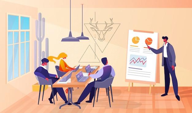 Reunión de negocios en oficina con jefe y empleados