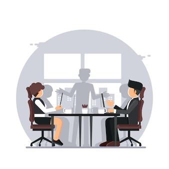 Reunión de negocios, oficina reunión de presentación de negocios en sala de conferencias