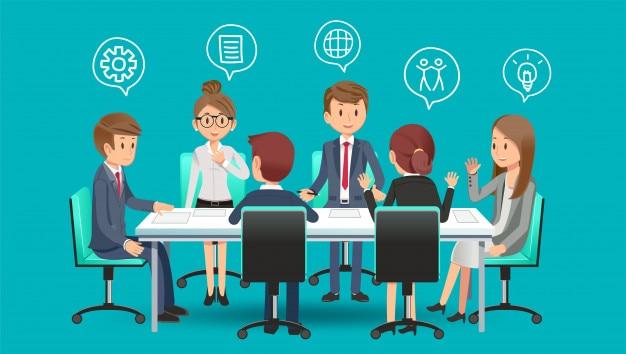 Reunión de negocios para planear para el futuro