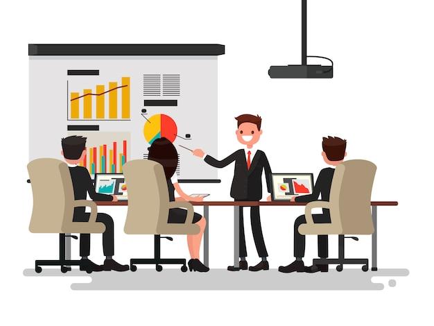 Reunión de negocios. presentación del proyecto. el hombre habla antes de la ilustración de sus colegas