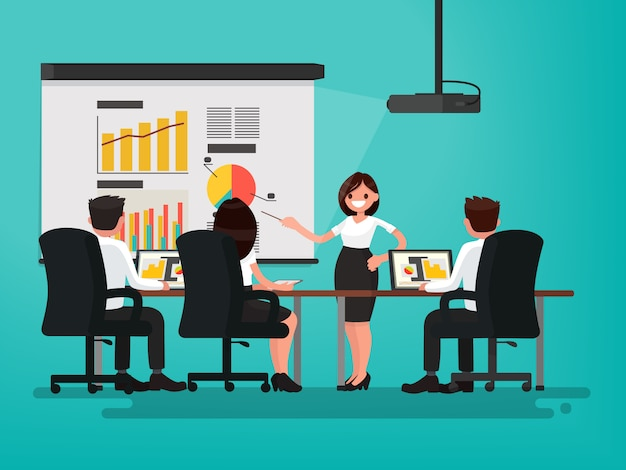 Reunión de negocios. presentación del proyecto. una mujer habla ante sus colegas ilustración