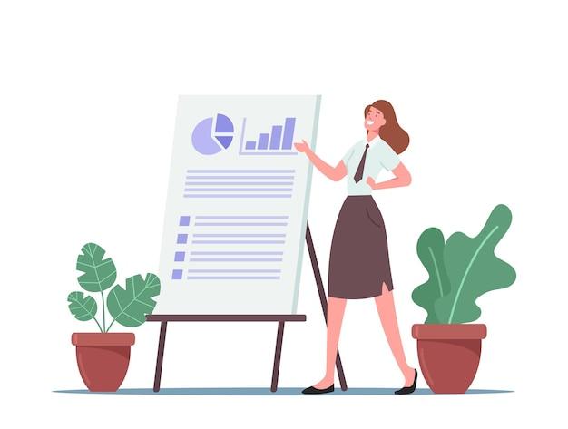 Reunión de negocios, presentación de proyectos para la audiencia, personaje de entrenador de negocios apuntando a un gráfico circular financiero a bordo