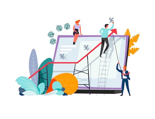 Reunión de negocios y resolución de problemas en gráficos