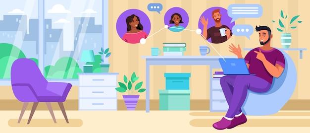 Reunión o conferencia virtual con diversos jóvenes que hablan y bocadillos