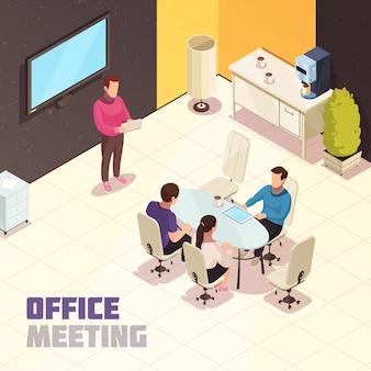 Reunión de oficina isométrica