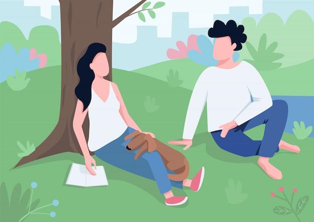 Reunión de pareja en la ilustración del parque