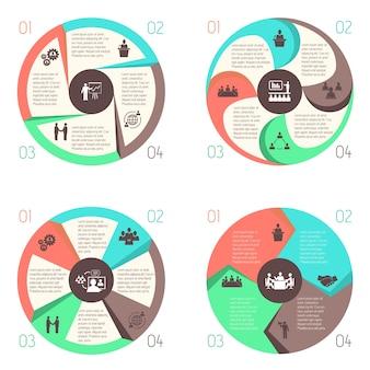 Reunión de personas en línea de negocios infográficos diseño de elementos conjunto de gráficos circulares aislado ilustración vectorial