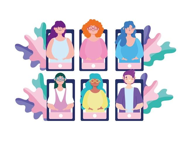 Reunión de personas en línea
