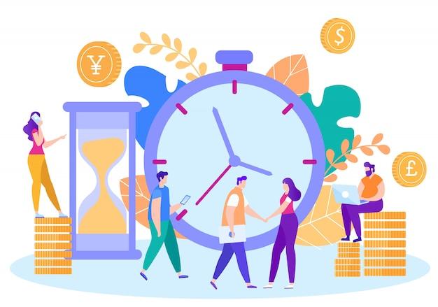 Reunión de planificación con business partner plano vector