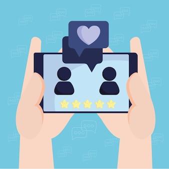 Reunión romántica de chat móvil en línea