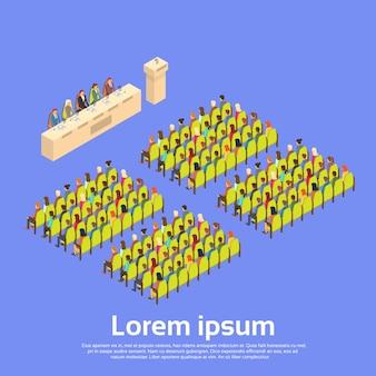 Reunión del salón de conferencias del grupo empresarial people people isométrica en 3d