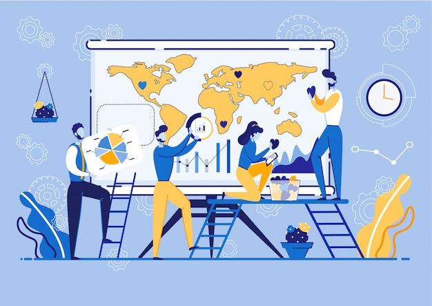 Reunión sobre planificación global e investigación de mercados.