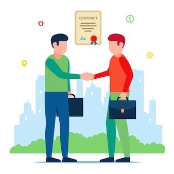 Reunión de socios comerciales. firma del contrato. ilustración de personajes.