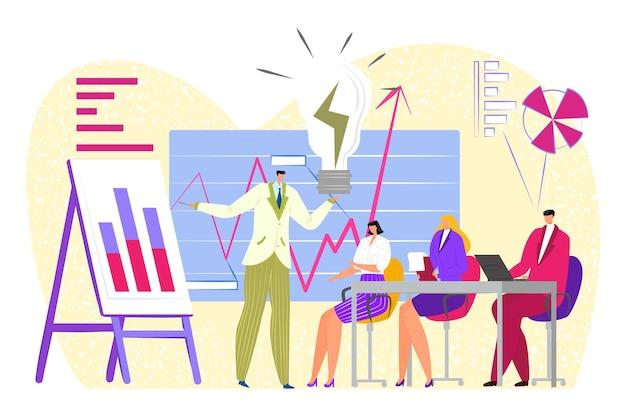 Reunión de trabajo empresarial con gráfico, ilustración vectorial. el trabajo en equipo en la oficina, el carácter de la gente plana se sienta en la mesa, el gráfico de la demostración del gerente, la presentación de la estrategia. comunicación grupal sobre la idea.
