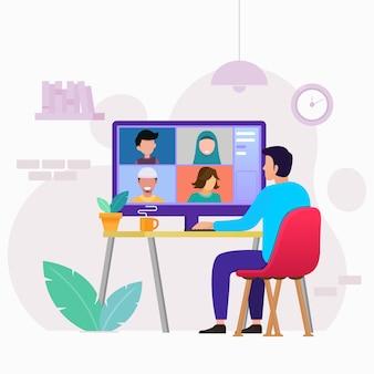 Reunión de trabajo en línea desde videoconferencia en casa