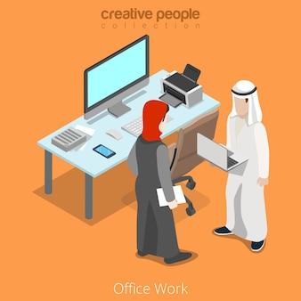 Reunión de trabajo de oficina de negocios de empresario musulmán islámico árabe isométrico