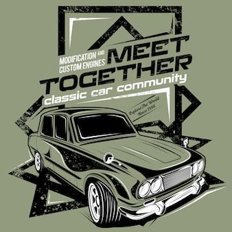 Reunirse, ilustración de la comunidad del automóvil clásico.