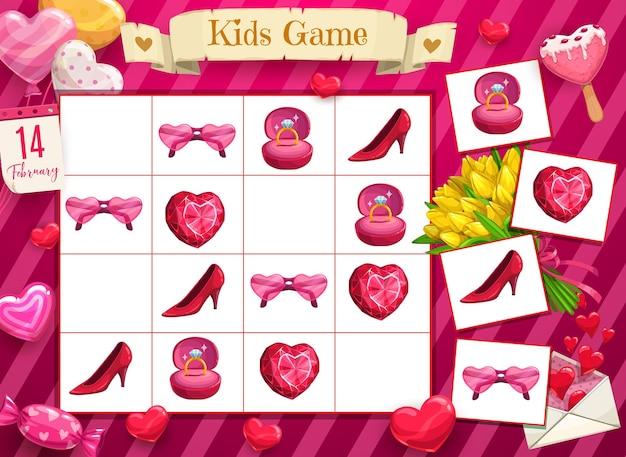 Reus infantil del día de san valentín, juego de lógica con símbolos de amor y romance