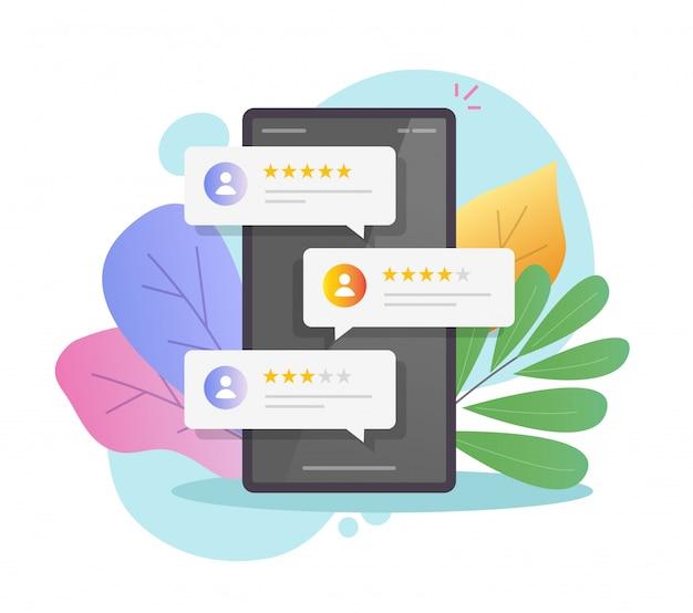 Revise las burbujas en línea de reputación de calificación en el teléfono móvil o testimonios de comentarios de los clientes en la ilustración del teléfono inteligente