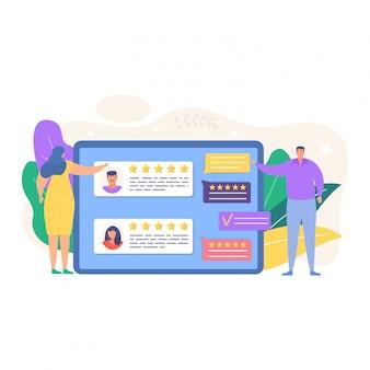 Revise la ilustración de comentarios. gente pequeña de dibujos animados revisando la calificación en línea en los iconos de aplicaciones de computadora o teléfono inteligente aislados en blanco