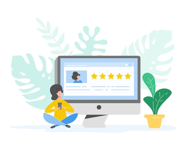 Revise la ilustración del concepto. carácter de mujer escribiendo buenos comentarios con estrellas doradas. servicios de tarifas al cliente y experiencia del usuario usando laptop. opinión positiva de cinco estrellas. dibujos animados