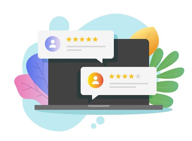 Revise los testimonios de calificación en línea en la pantalla de la computadora o la experiencia de retroalimentación de testimonios de clientes