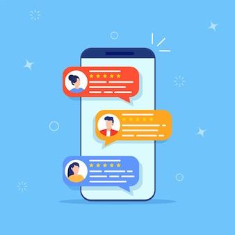 Revise los testimonios de calificación en línea en la pantalla del teléfono inteligente