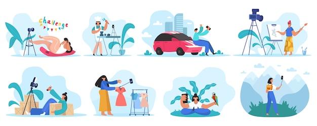Revisión de bloggers. revisión en línea, video blogger y creadores de contenido. conjunto de ilustración de concepto de canal de video de redes sociales. vlog media, contenido de video en línea, canal social
