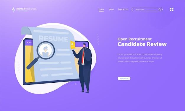 Revisión del candidato en la ilustración de la pantalla para la contratación de recursos humanos