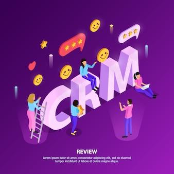 Revisión del cliente de crm con elementos de clasificación y lealtad en color púrpura con letras tipográficas isométricas