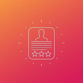 Revisión del cliente, icono de línea de vector de retroalimentación