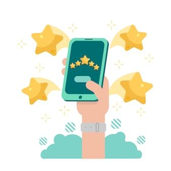 Revisión de clientes. concepto de retroalimentación o calificación