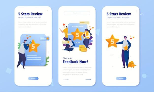 Revisión y comentarios en línea con calificación de 5 estrellas en el conjunto de pantalla a bordo