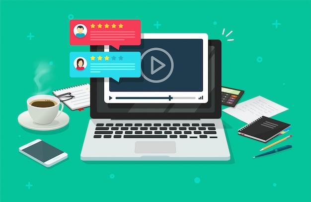 Revisión del contenido del seminario web de video comentarios testimonios comentarios en línea en una computadora portátil o pc tasa de reputación chat evaluación escritorio plano