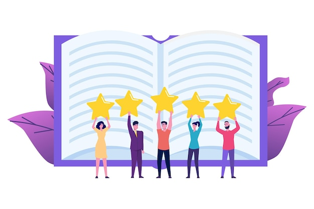 Revisión de libros, concepto de club de lectura. ilustración vectorial