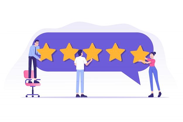 Revisión o retroalimentación del cliente, calificación del servicio al cliente y experiencia del usuario
