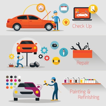 Revisión, reparación, acabado de pancartas, servicio y mantenimiento de automóviles