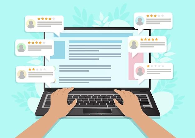 Revisión, retroalimentación, calificación de discurso de burbuja en computadora portátil. ilustración