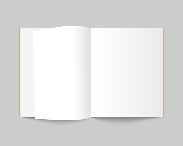 Revista abierta en blanco, libro, cuaderno, folleto, folleto o catálogo.