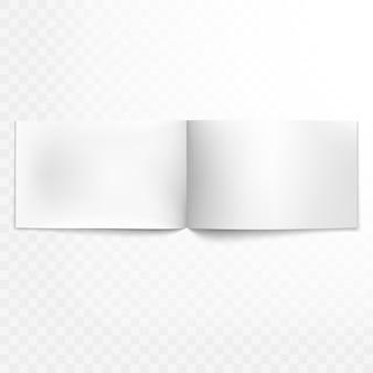 Revista abierta en blanco sobre fondo transparente. y también incluye