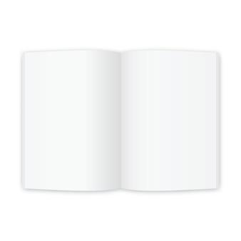 Revista abierta o libro con páginas blancas en blanco. plantilla para folleto