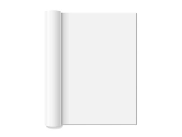 Revista abierta vacía blanca aislada