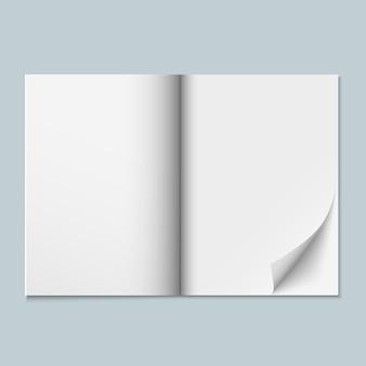 Revista, catálogo o dossier con páginas en blanco.