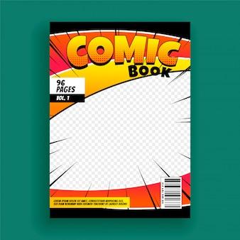 Revista de cómics portada plantilla de diseño de página